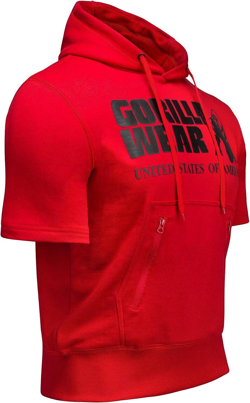 GORILLA WEAR Kurzarm Sport Hoodie Herren Boston Short Sleeve Fitness Bodybuilding T-Shirt