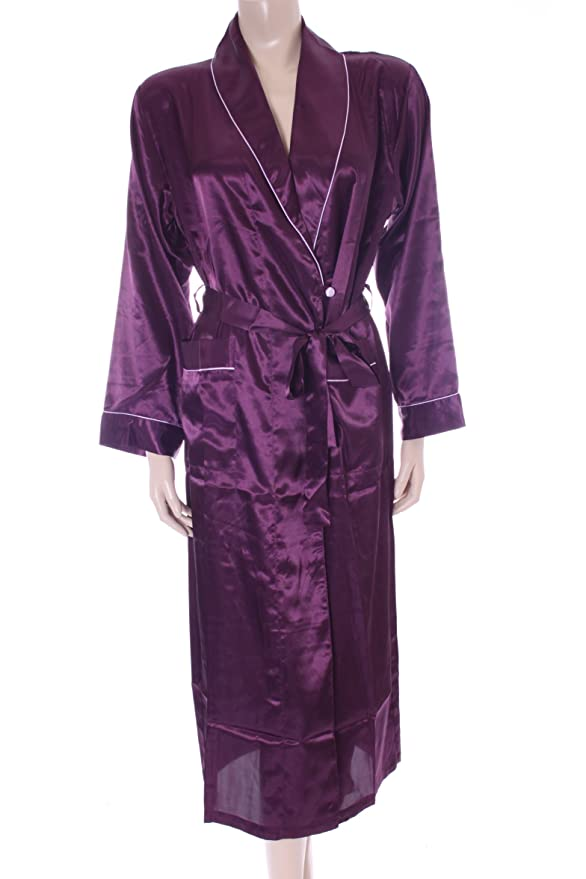 Aubergine Purple Satin Dressing Gown Robe Size Small 8 10 By Moon ...