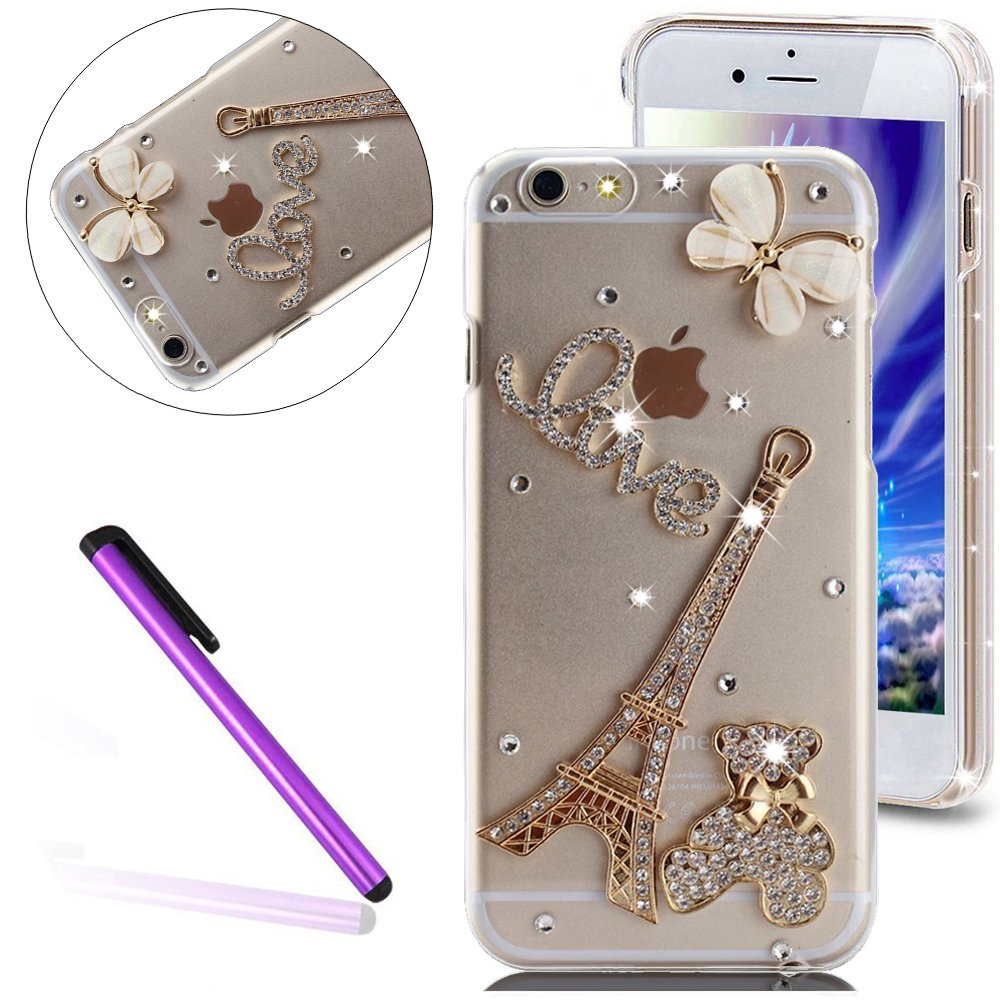 EMAXELERS iPhone 6 S / 6ケースかわいいシルバーの斜塔熊愛ゴールド蝶キラキラダイヤモンドハードプラスチック製のPCケースiPhone 6 S / 6無料スタイラスペン付き - 金の斜塔&ベア   B01DZJK0SY