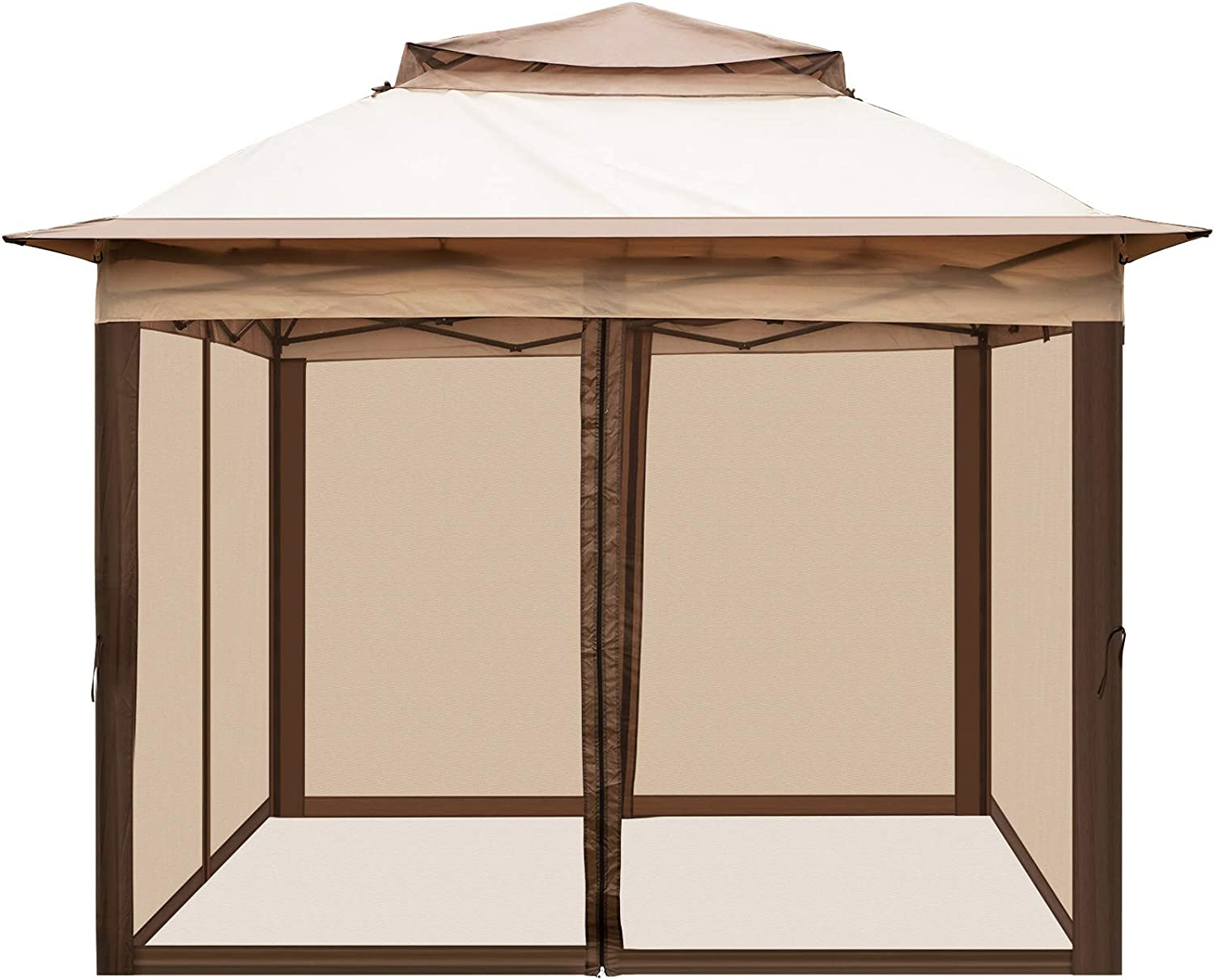LOVSHARE Pop Up Gazebo 11' x 11' with Netting - Outdoor Canopy Gazebo with 4 Sandbags - Patio Gazebo with 121 Square Feet of Shade for Backyard, Outdoor, Patio and Lawn