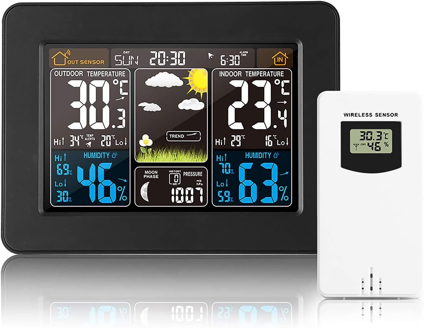 Wireless Weather Station, Home Wireless Forecast Station, Digital Indoor Outdoor Thermometer, Remote Sensor, Temperature Humidity Monitor Alerts, Barometer as Birthday Valentine
