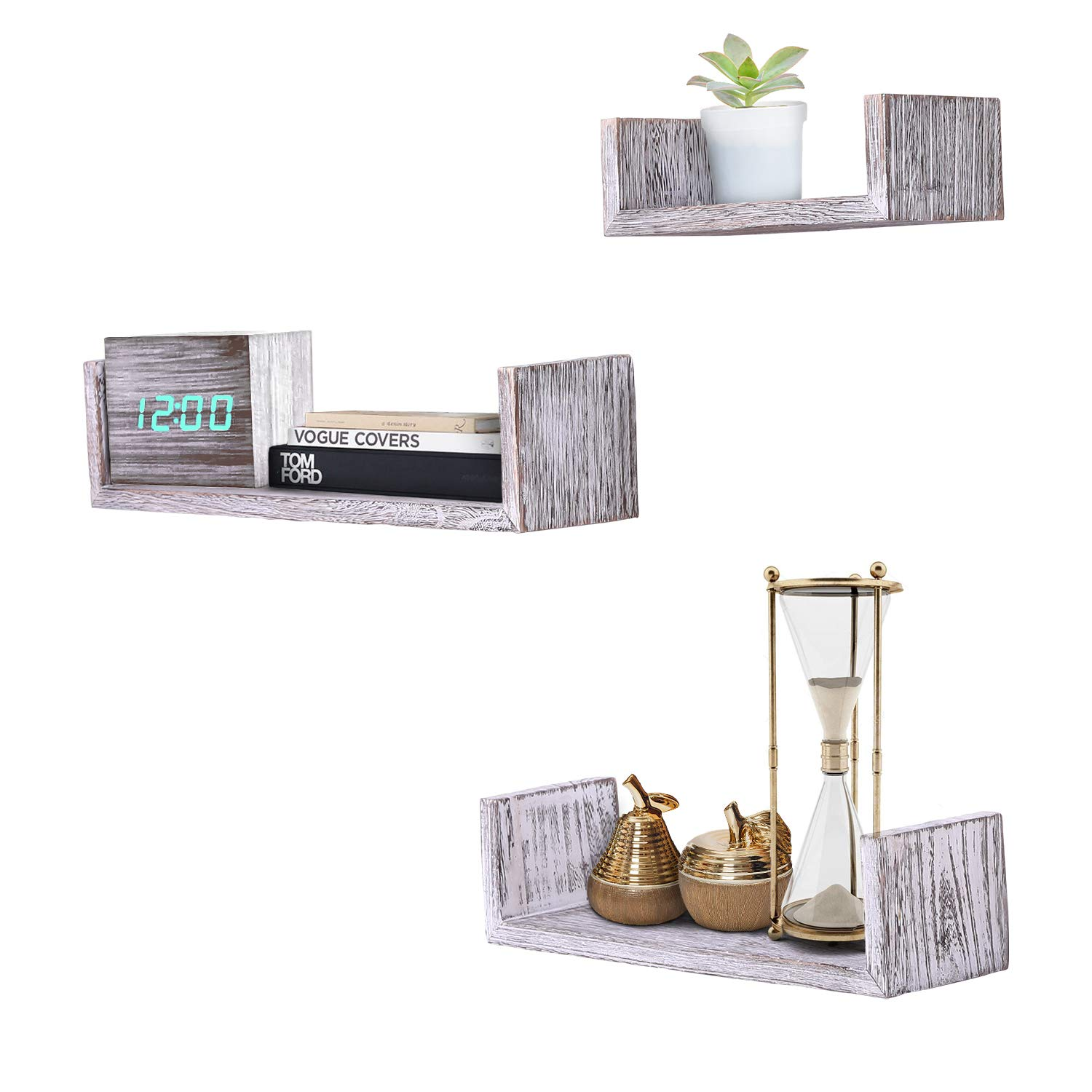 Rustic Wall Mounted U-Shaped Floating Shelves – Set of 3 – Large, medium  and Small – Screws and Anchors Included - Farmhouse Shelves for
