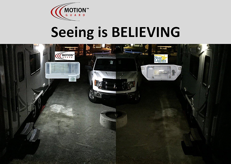 MG1000-450B-A RV Security Motion Porch Light 12 Volt Exterior Motion RV LED Porch Light Black