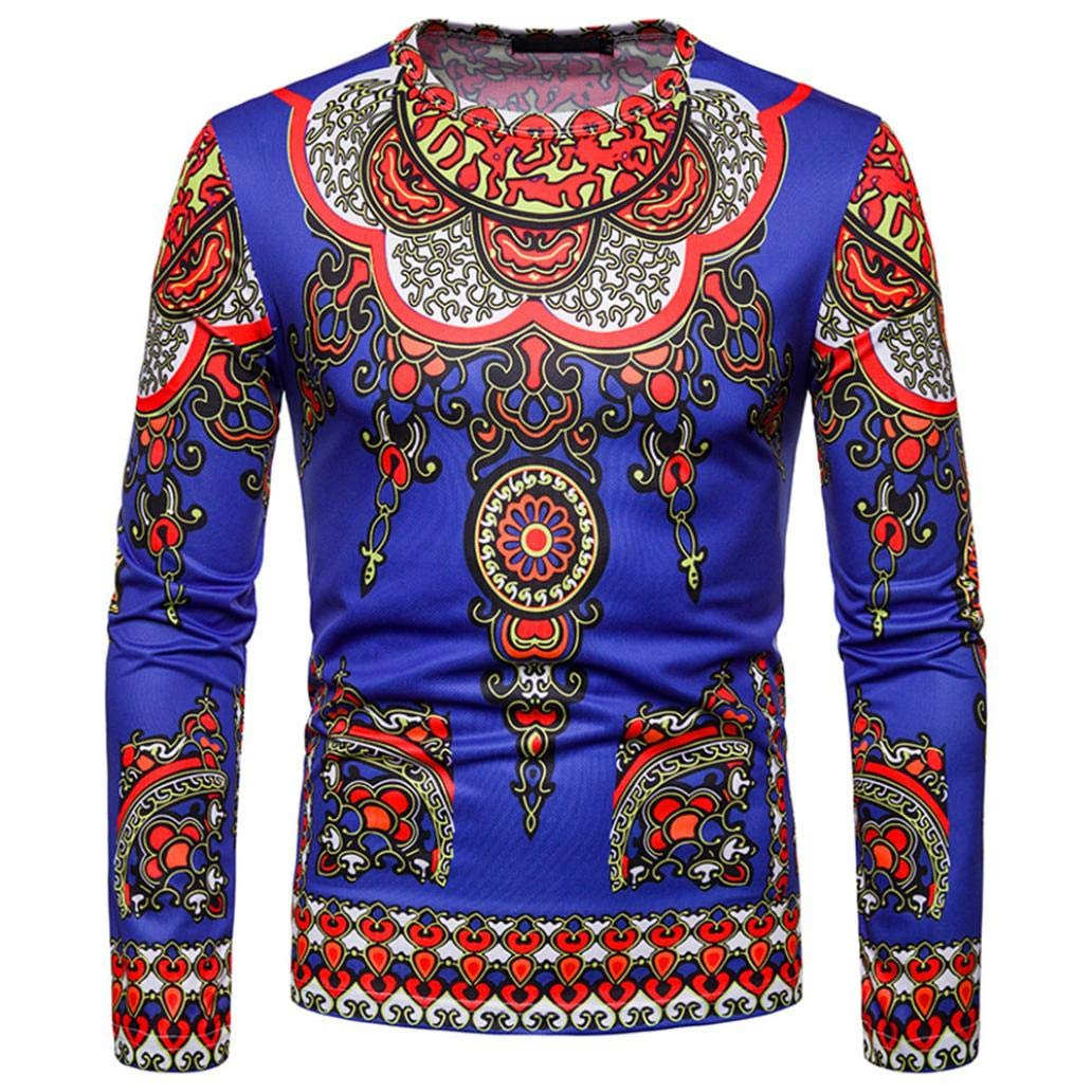 kaifongfu Mens Top, Round Neck Long Sleeve African Style Ethnic Printed Top Blouse(Blue,XL)