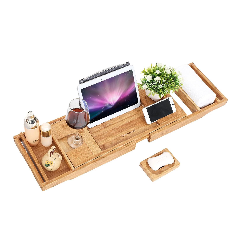 SONGMICS Vassoio Estendibile in Bambù per Vasca da Bagno Organizzatore con Lati Regolabili e Leggio per Libri iPad Cellulare con Portasapone Gratuito BCB88Y