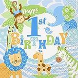 Blue Safari 1st Birthday Paper Napkins, Pack of 20