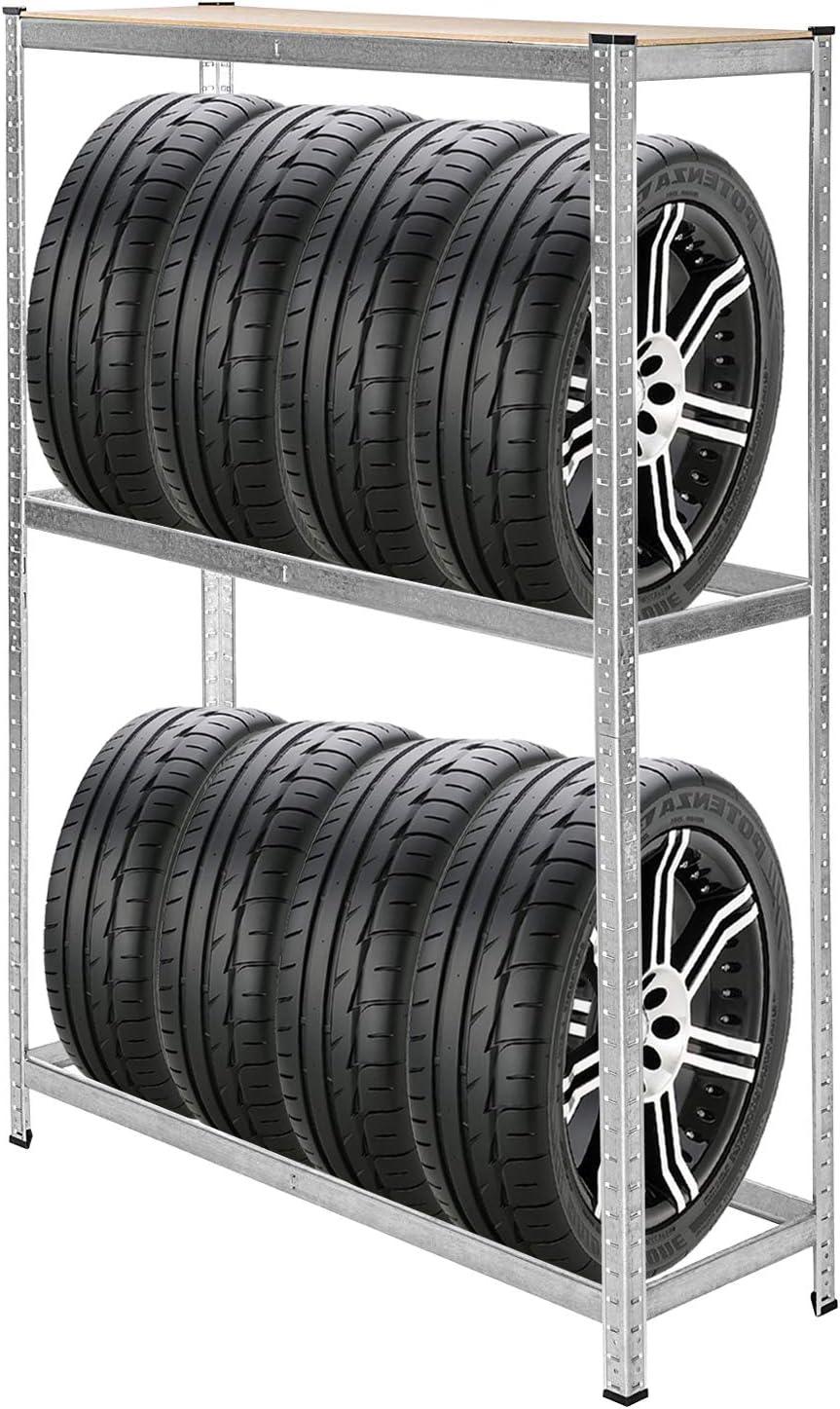 Reifenständer Reifenregal Steckregal Werkstattregal für 8 Reifen 180x120x40 cm