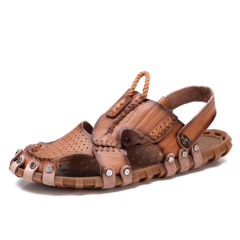 Brown-eu38 LXIE Pakamo Summer Men's Leather Sandals Closed-Toe Comfortable Beach Slippers Walking Trekking Outdoor Sports Sandals Men's shoes, EU 44