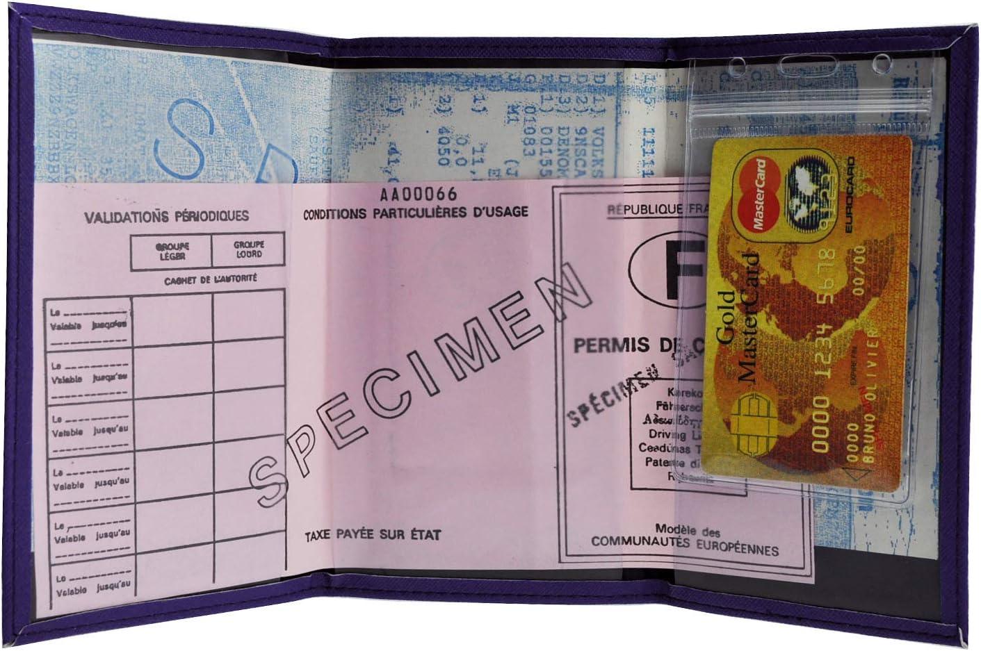 Victory /étui Trois Volets Porte Papiers Voiture Permis De Conduire Carte Grise Homme Femme Charmoni Saffiano Bleu fonc/é