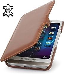 StilGut® Book Type avec clip, housse, étui, coque en cuir pour BlackBerry Z30 en cognac