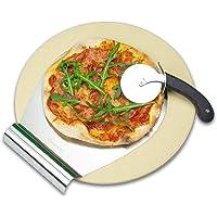 RADOLEO® Pizzastein aus Cordierit - Premium Set mit Pizza-Roller & Pizzaschaufel | für Grill oder Back-Ofen | edle Verpackung …