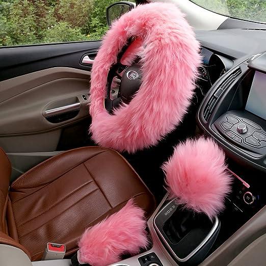 Conjunto de volante cubierta ezykoo rosa totalmente lana suave funda para volante de coche con freno de mano Shift Knob Cubiertas 14.96