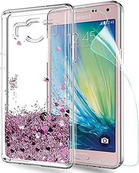 LeYi Coque Galaxy A5 avec Film de Protection écran, Fille Personnalisé Liquide Paillette Flottant Transparente 3D Silicone Gel TPU Antichoc Kawaii ...