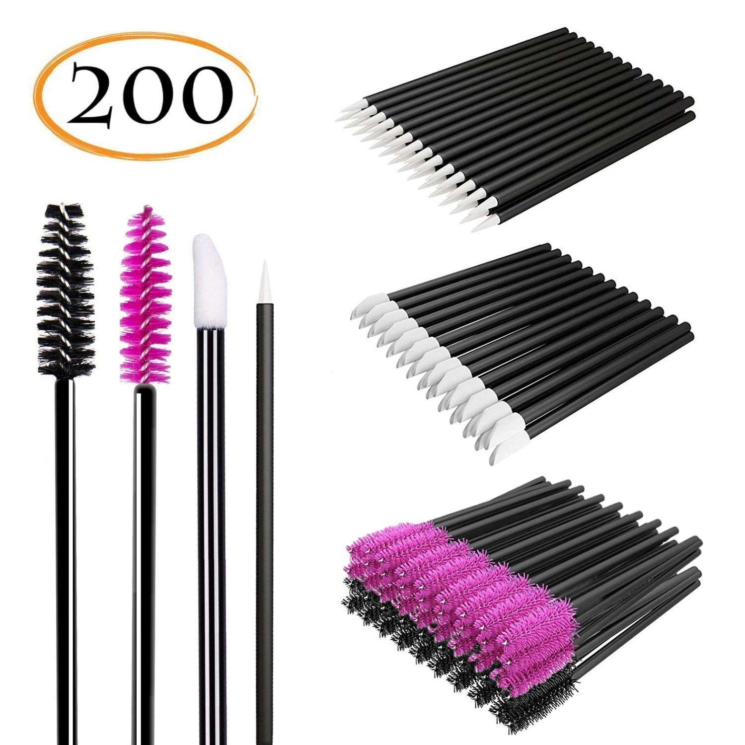 Disposable Makeup Applicator 200 Pcs 4 Style - Lash Brushes Mascara Wands & Lip Brushes & Eyeliner Brush - Disposable Makeup Tools Daily Makeup Brushes Sets Kits Onwon