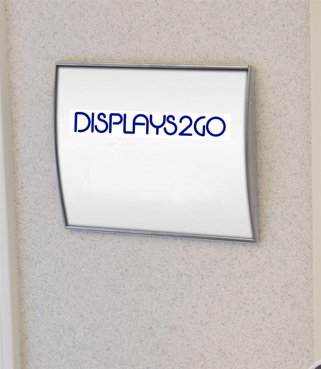 Displays2go Set of 2, Door Sign with Non-glare Lens for Displaying 8 1/2 x 11 Inches Graphics, Curved Name Plate Holder Mounts Vertically or Horizontally to a Wall, Silver, Aluminum (WCSSLV8511)