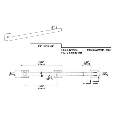 Gatco 4070A Elevate Towel Bar 30 Inch Satin Nickel