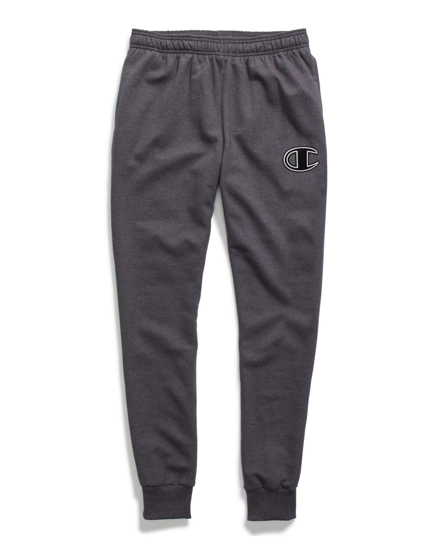 Champion Men's Powerblend Fleece Joggers, C Logo With White Chainstitch by Champion