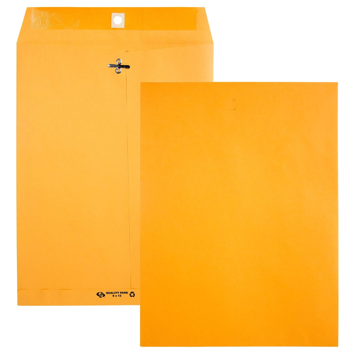 Quality Park 9 x 12 Recycled Clasp Envelopes with Deeply Gummed Flaps, Great for Filing, Storage or Mailing Documents, 28 lb Brown Kraft, 100 per Box (38190)