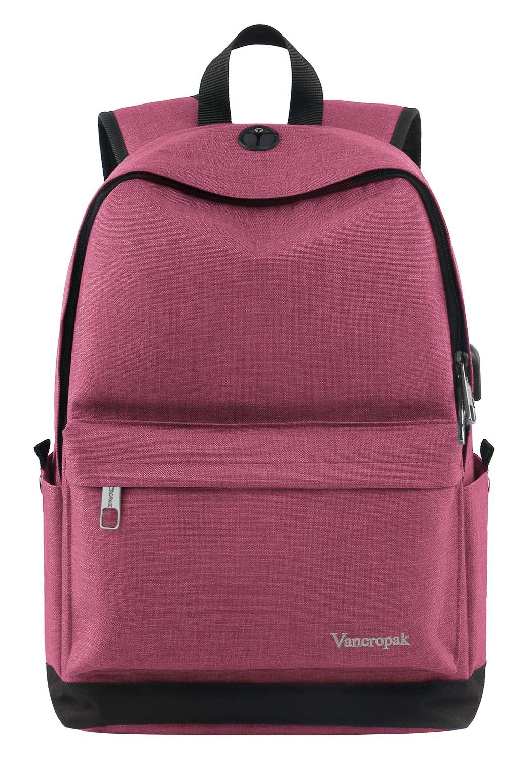 7d47ec3be034 Vancropak Student Backpack for Women, College High School Laptop Backpack  with Charger for Men Girls Boys, Water Resistant Canvas Bookbag Weekend Bag  ...