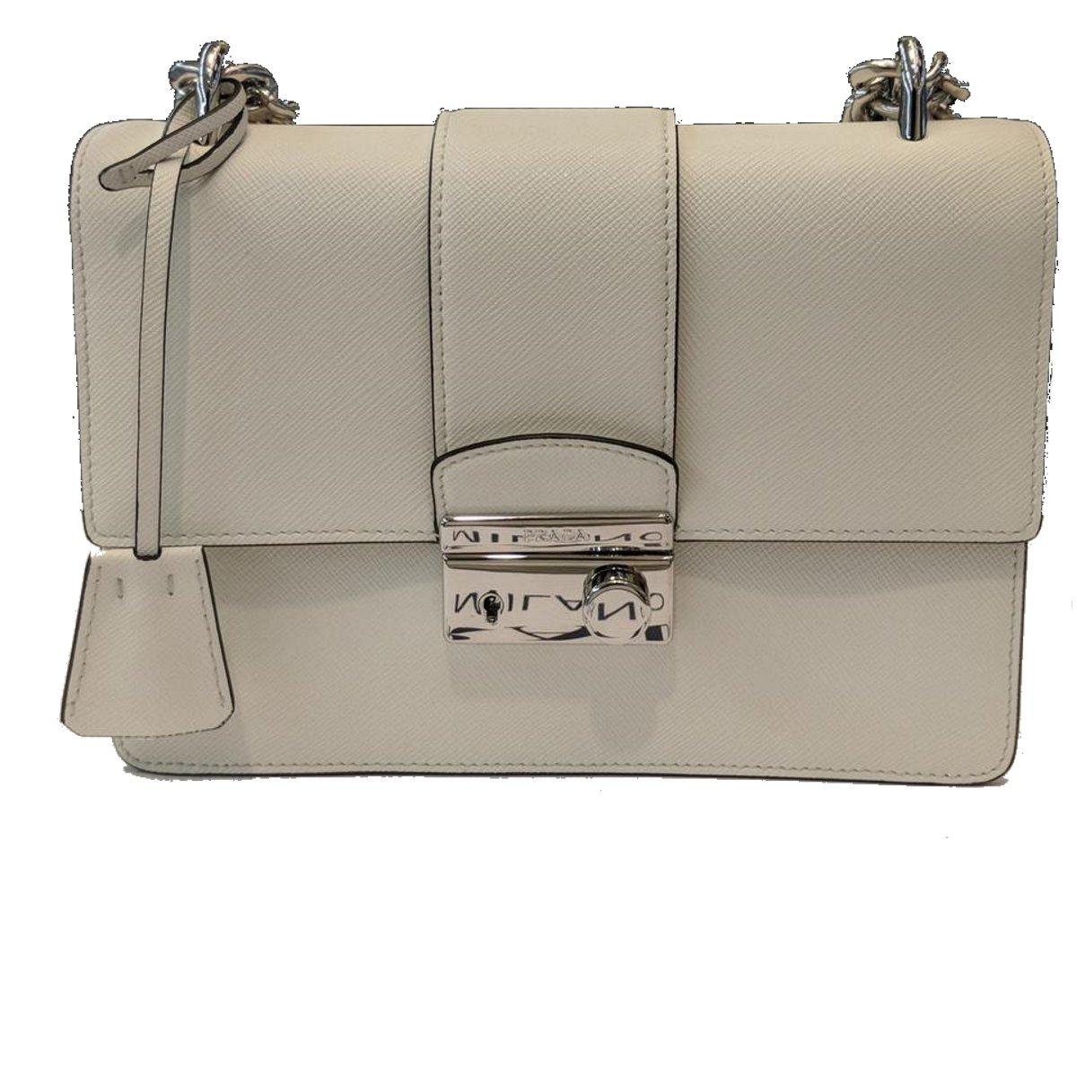 4efbb8e4a Prada White Saffiano Designer Leather Crossbody Bag for Women 1BD034:  Handbags: Amazon.com