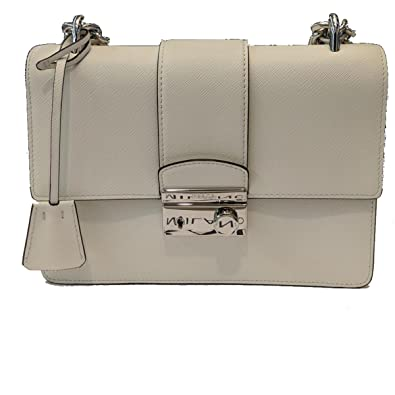 4fa359b906 Prada White Saffiano Designer Leather Crossbody Bag for Women 1BD034   Handbags  Amazon.com