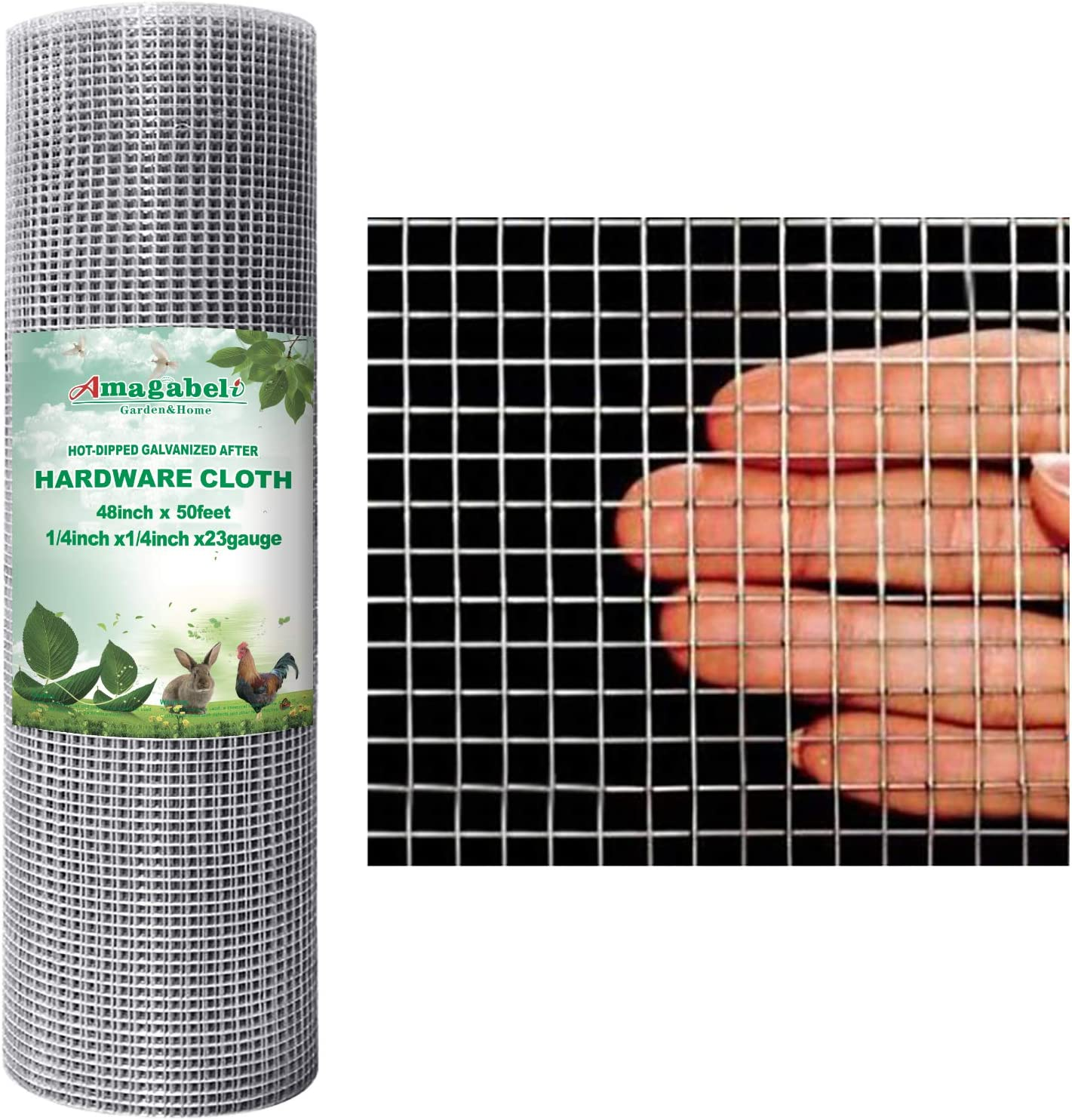 Amagabeli 48x50 Hardware Cloth 1/4 inch Square Galvanized Chicken Wire Welded Fence Mesh Roll Raised Garden Bed Plant Supports Poultry Netting Cage Wire Snake Fence: Home Improvement