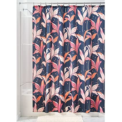 InterDesign Lily Blossom Fabric Shower Curtain 72quot X Blue Multi