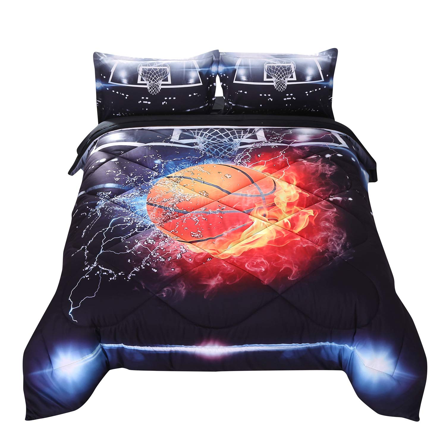 Wowelife Basketball Bedding 3D Basketball Comforter Set Queen Fire Black Pattern 5 Pieces with Comforter, Flat Sheet, Fitted Sheet and 2 Pillow Cases(Red Basketball, Queen)