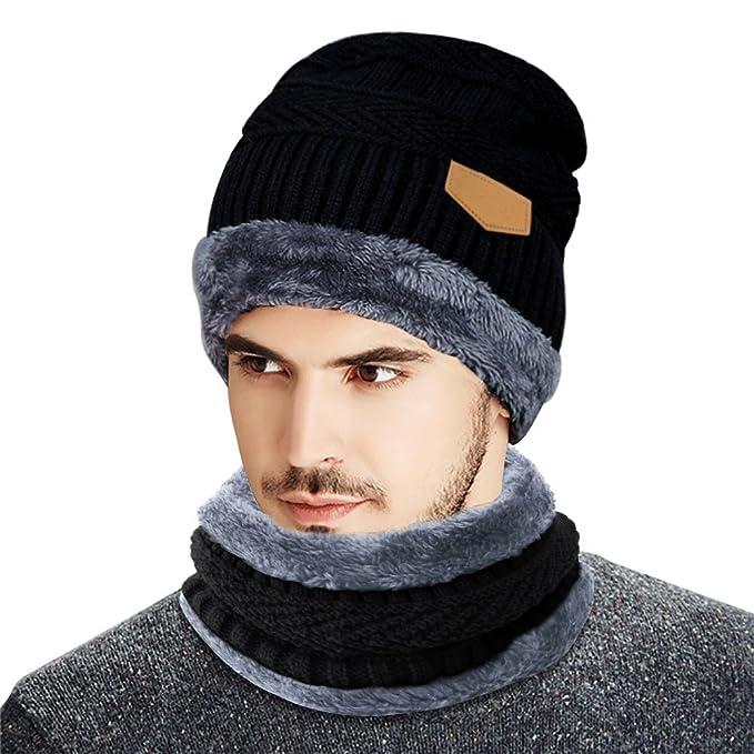 83cc2d9b3 Gorro Invierno Hombre con Bufanda-Beileer Calentar Sombreros Gorras Beanie  de Punto para Hombre  Amazon.es  Ropa y accesorios
