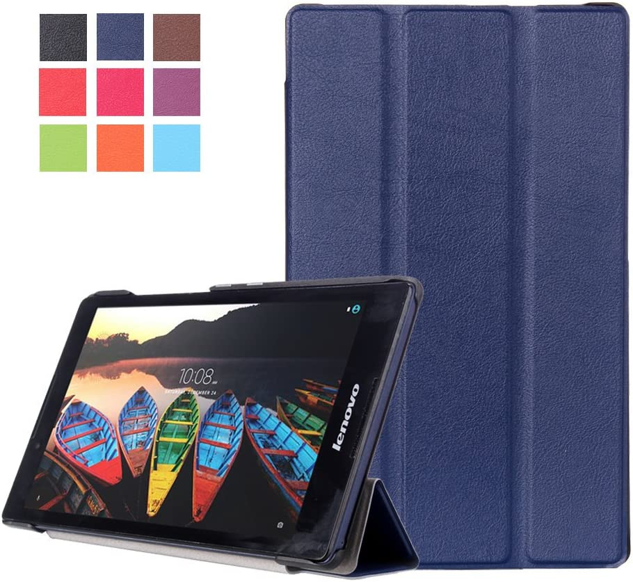 Kepuch Custer Case for Lenovo Tab 3 8 TB3-850F TB3-850M/Tab 2 A8-50F,Ultra-Thin PU-Leather Hard Shell Cover for Lenovo Tab 3 8 TB3-850F TB3-850M/Tab 2 A8-50F - Blue