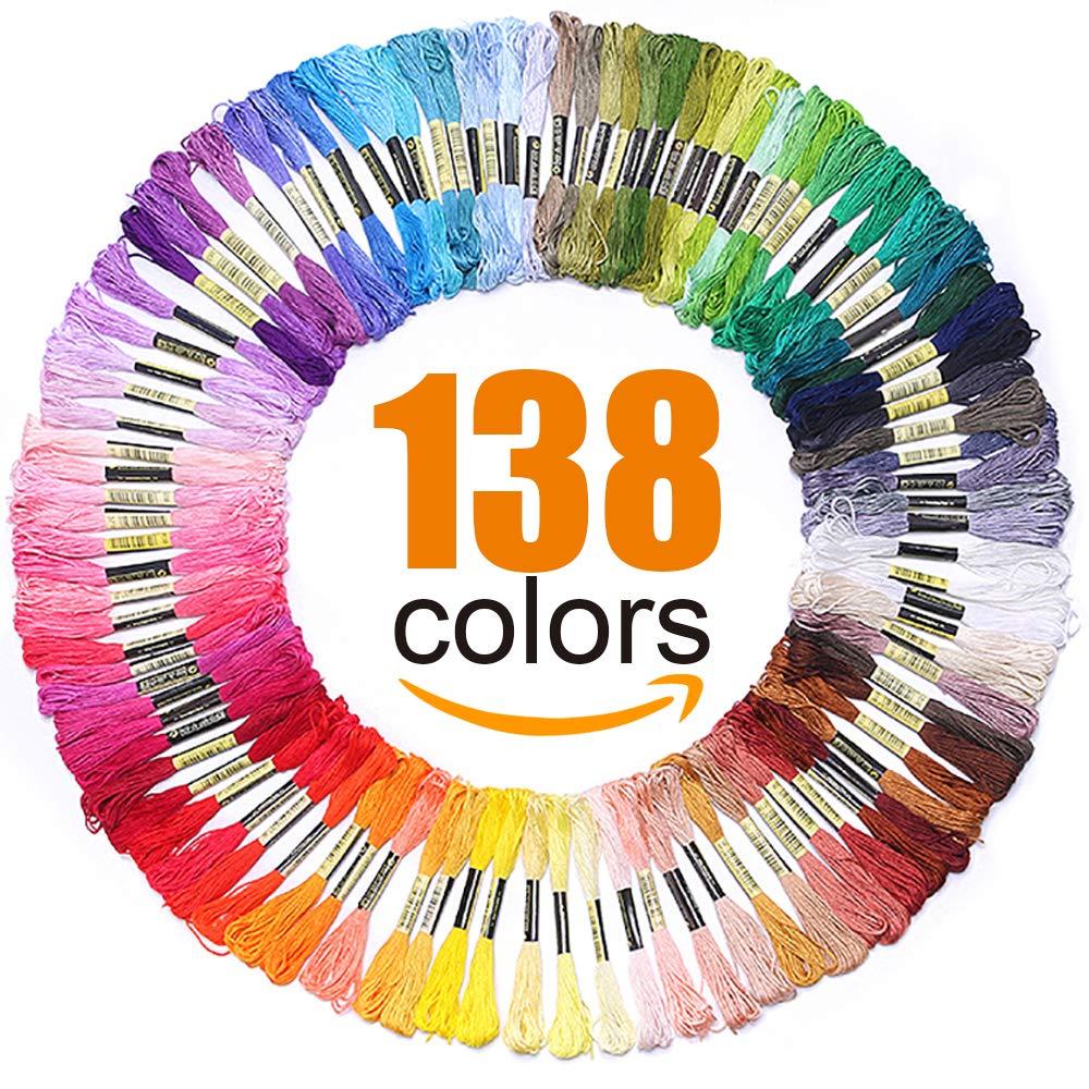 Premium Rainbow Color Embroidery Floss - Cross Stitch Threads - Friendship Bracelets Floss - Crafts Floss - 138 Skeins Per Pack LOVIMAG EF140