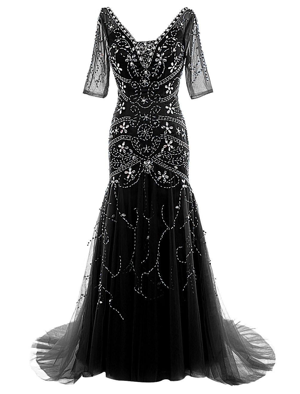 Dressystarレディースドレス ビーズ付く ロング丈 花嫁ドレス 袖あり レースアップバック ウェディングドレス 結婚式ドレス 二次会ドレス パーティーワンピース ステージドレス 演奏会 コンサートワンピース B018XDV874 7|ブラック ブラック 7