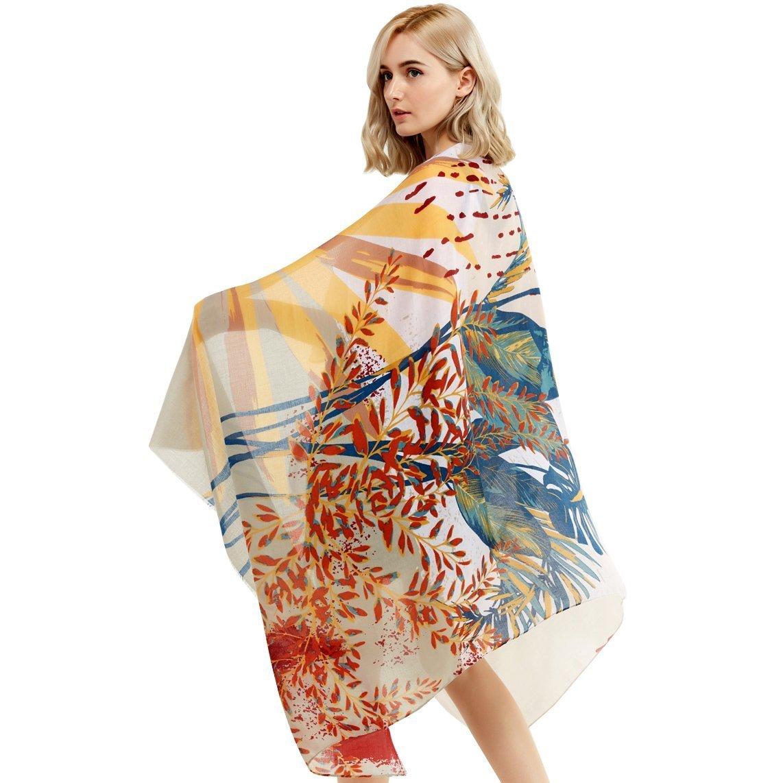 Women's Cotton Long Scarf Lady's Shawls Sunscreen Wraps Summer Bikini Covers Beach Suntowels Soft Thin Scarves Spring Autumn (Beige)