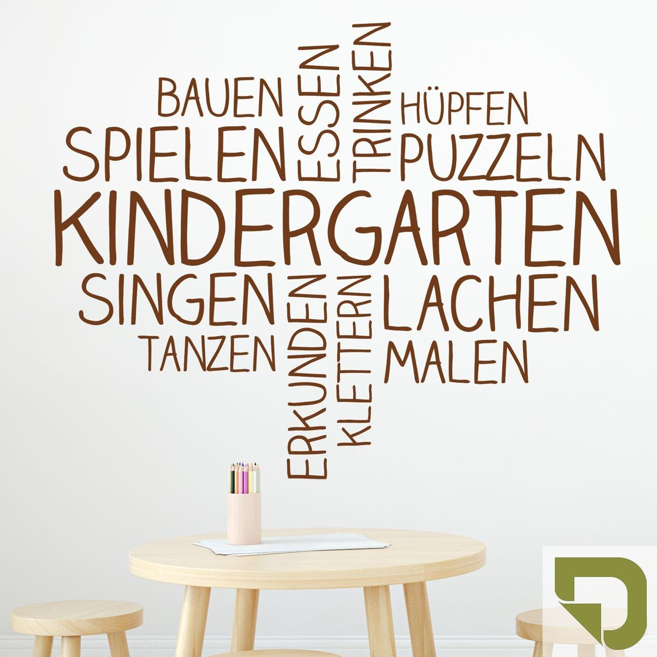 DESIGNSCAPE® Wandtattoo Wortwolke Kindergarten   Kindergarten Wanddekoration 110 x 89 cm (Breite x Höhe) sandgrau DW808180-M-F101 B075JGBYLN Wandtattoos & Wandbilder