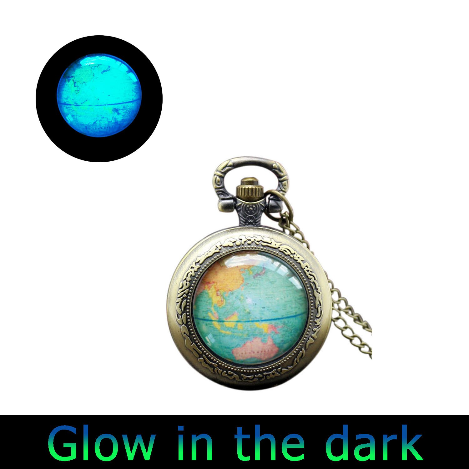 Amazon glowlalaglowing globe watch necklace map watch pendant amazon glowlalaglowing globe watch necklace map watch pendant necklace world map adoption glowing watch jewelry travel glowing watch necklace 1 gumiabroncs