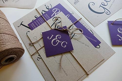 Handmade Lavender Paper Wedding Card