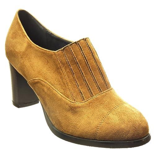 Angkorly Zapatillas Moda Botines Low Boots Slip-On Mujer Líneas Tacón Ancho Alto 7.5 cm cm: Amazon.es: Zapatos y complementos