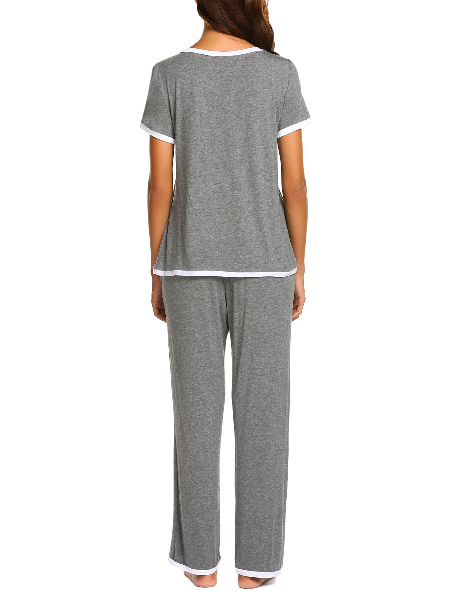 Ekouaer Women Pajamas Set V-Neck Short Sleeve Top and Elastic Waist Long Pants Lounge Sleepwear (Gray XL) by Ekouaer (Image #2)