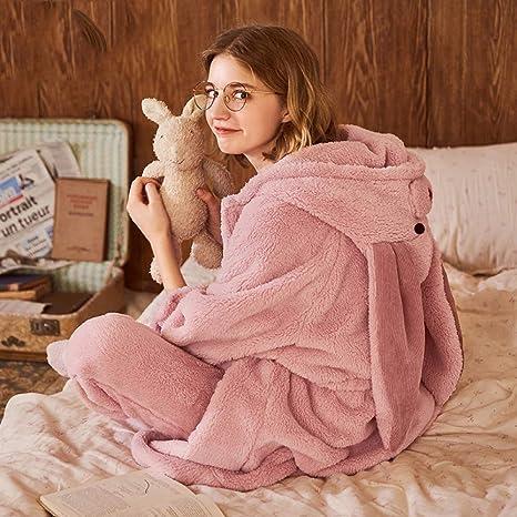 WANG-LONG Ropa De Dormir Batas Mujer Conjunto De Pijamas Señoras Invierno Camisones Ropa De