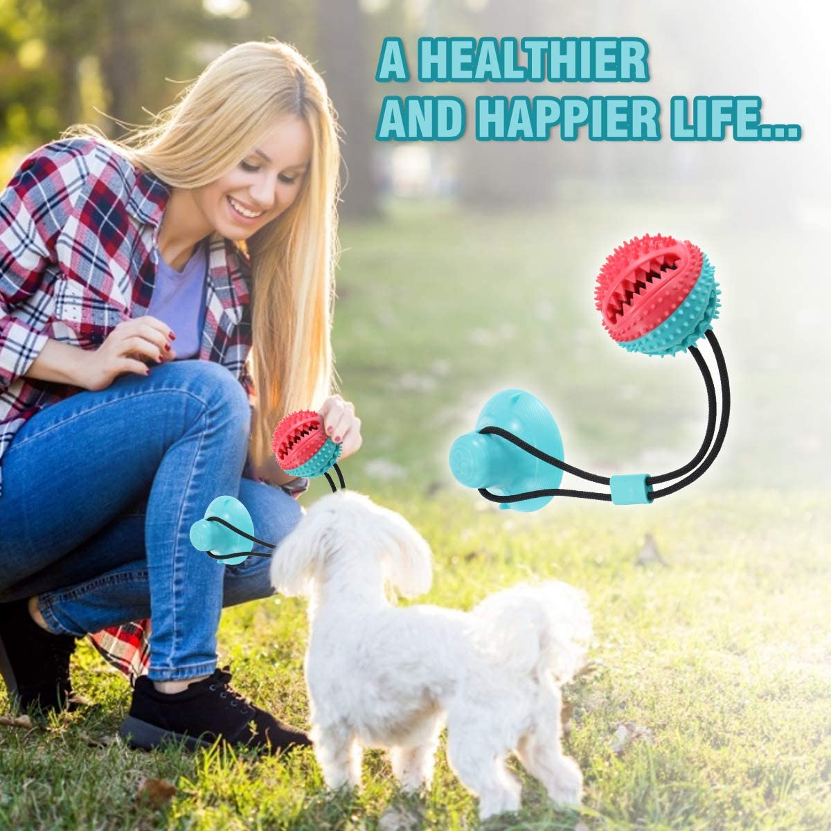 Puppy Dog Teeth Cleaning Interactive Pet Tug Toy for Boredom CAMTOA Dog Chew Toys for Aggressive Chewers Suction Cup Dog Chewing Toy Dog Rope Ball Toys with Suction Cup for Small Large Dogs