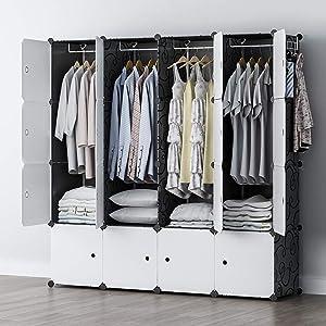 YOZO Portable Closet Wardrobe Plastic Dresser Multi-use Cube Storage Organizer Clothes Bedroom Armoire, 16 Cubes, Depth 18 inches, Black