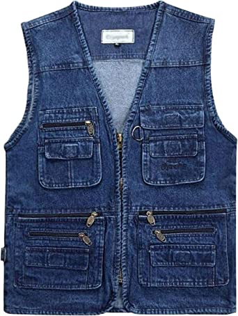 Gihuo Mens Outdoor Pockets Safari Fishing Travel Denim Vest