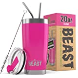 BEAST 20oz Pink Tumbler - Insulated Stainless Steel Coffee Cup with Lid, 2 Straws, Brush & Gift Box by Greens Steel