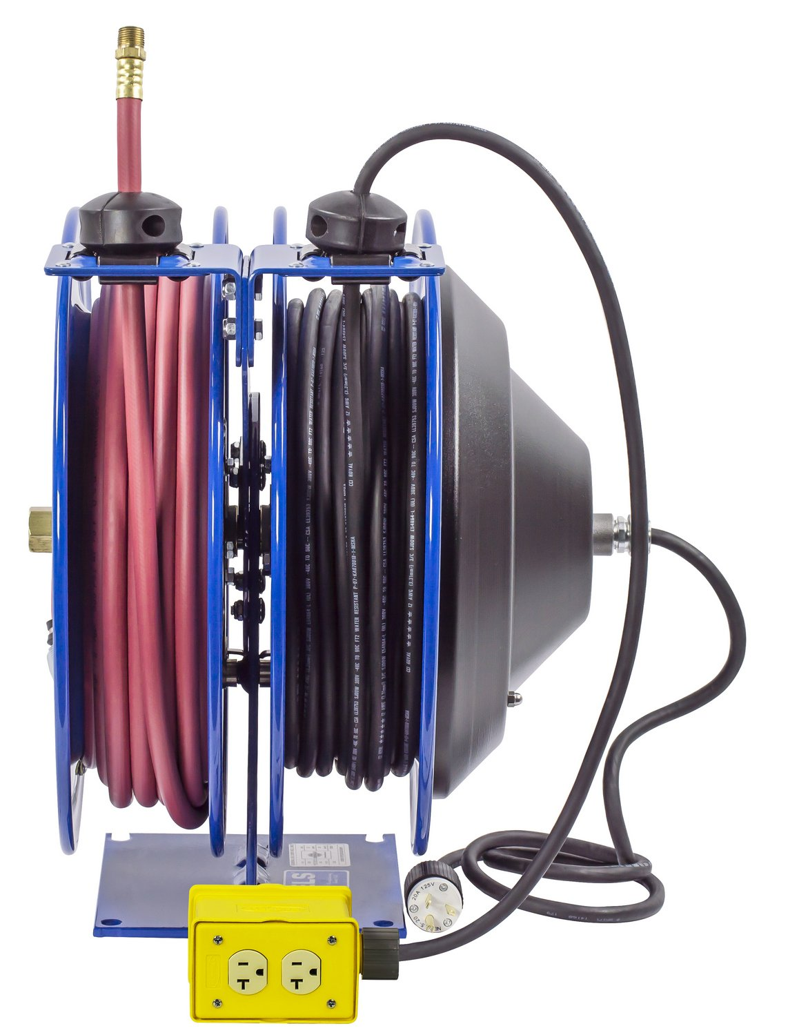 Coxreels C-L350-5012-B Combo Air and Electric Hose Reel with Quad Outlet Attachment, 3/8'' Hose ID, 50' Length by Coxreels (Image #2)