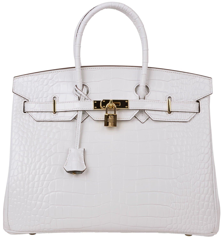 Cherish Kiss Padlock Bag Women Crocodile Leather Top Handle Handbags (35cm, Pure white) by Cherish Kiss (Image #1)