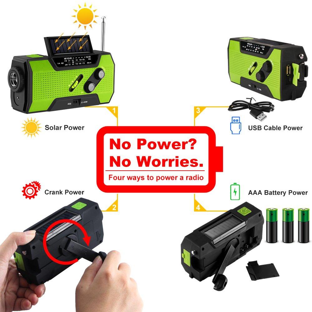 Greenbang Portable Notradio Green Handy-Ladeger/ät /& 2000mAh Power Bank f/ür Camping Wandern Outdoor Survival Handkurbel selbst angetrieben//solarbetriebene NOAA AM FM Radio mit LED-Taschenlampe