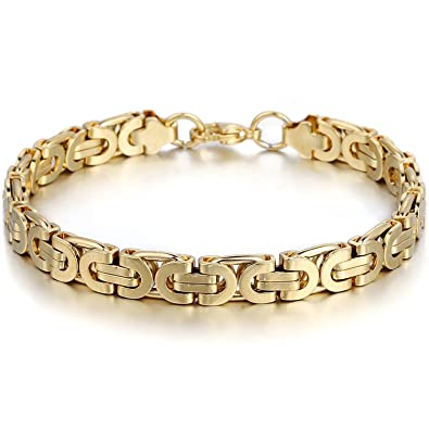 2c71a671399e Davieslee Mens Bracelet Chain Stainless Steel Gold Plated Flat Byzantine  Link Hip Hop 8mm 10inch