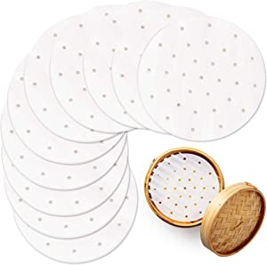 Air Fryer Liners, 100-Pack 7-Inch Perforated Steam Paper, 7-in Bamboo Steamer Paper Liners