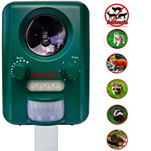 Belidan Animal Repellent Ultrasonic Outdoor - Advanced Animal Repeller - Deer Cat Dog Skunk Rats Raccoon Repellent - Animal Deterrent Device Solar Powered - Motion Sensor LED Lights USB Charger
