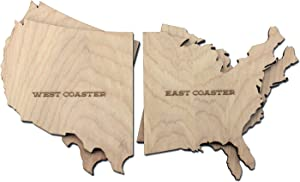 Wooden Shoe Designs East and West Coast Coaster Set of 4   Wood Coasters for Drinks   Unique Drink Coasters 4-Inch   Great Housewarming Gift